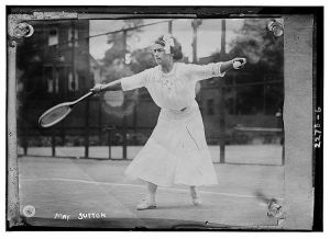 May Sutton playing at Wimbledon